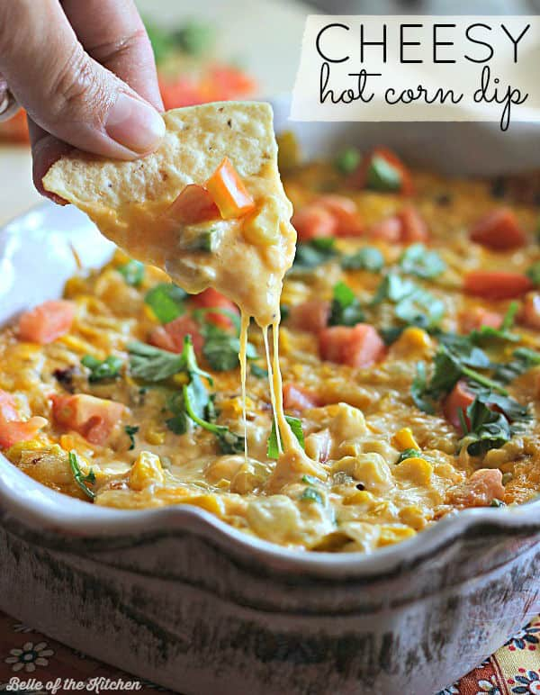 The ultimate appetizer filled with corn, cheese, and touch of chipotle. This dip is ALWAYS a hit and there is never any left over! It's incredibly easy to throw together, too. MAKE THIS and I know you will LOVE it!